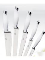 Комплект 5 ножа, бяла дръжка, със стойка