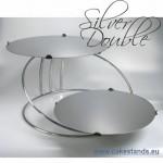 """Метална стойка за торти """"Silver Double""""  на 2 нива"""